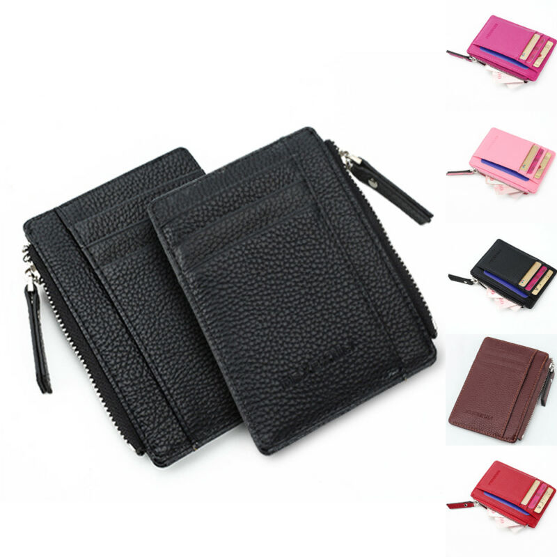 Woman's Mini ID Holders Leather Wallet Women Men Card Holder Coin Purse Portable Bag Gift Holders