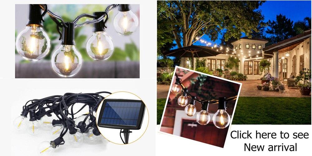 luzes da corda solar ao ar livre