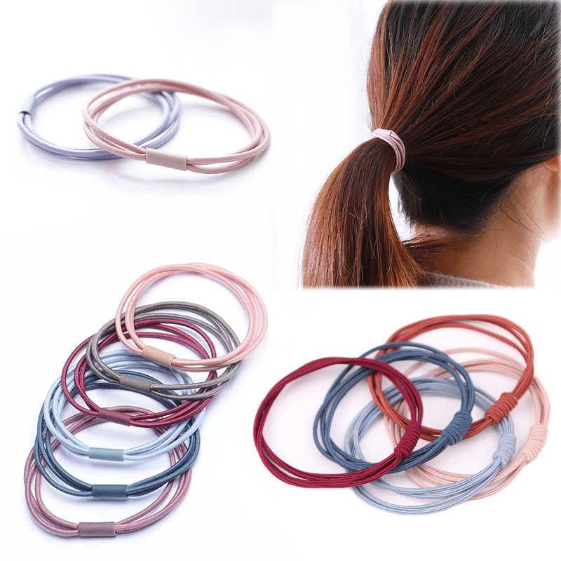 5PCS Girls Pearls Elastic Hair Bands Soild Hair Rope Rubber Bands Hair Ties UK