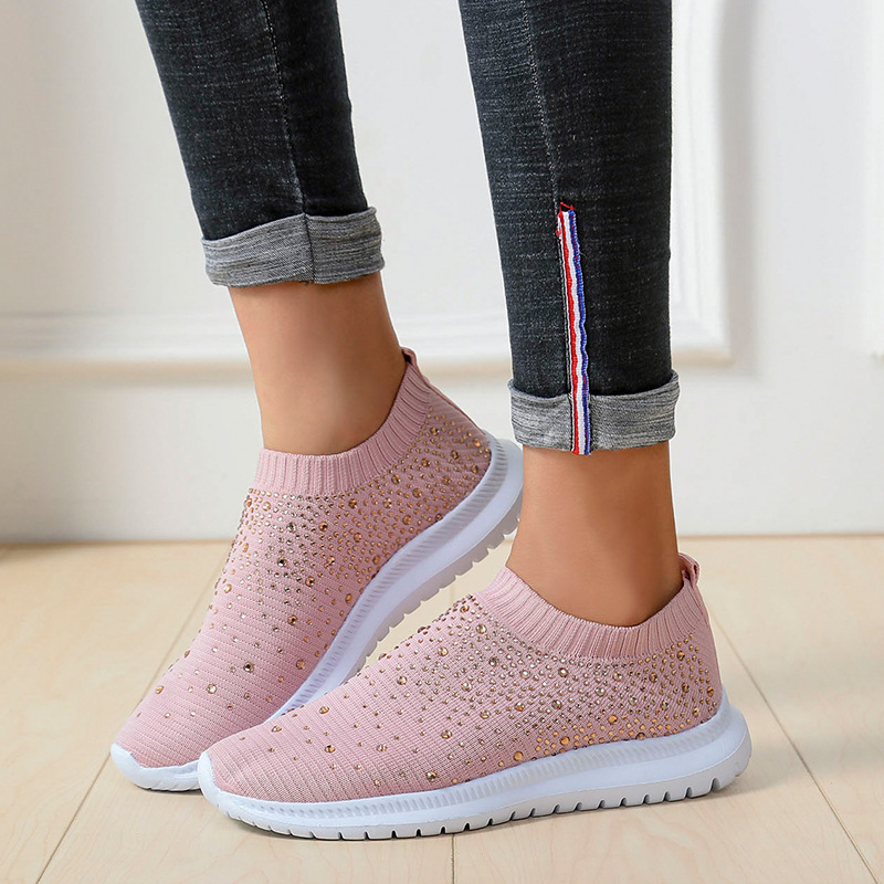 Breathable Casual Sneakers Women Trainers Knitted Sneakers Ladies Slip-on Sock Shoes Sparkly Crystal Zapatillas Mujer NVX184