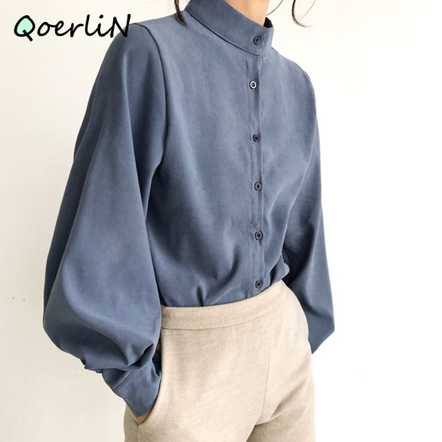 Big Lantern Sleeve Blouse Women Autumn Winter Single Breasted Stand Collar Shirts Office Work Blouse Solid Vintage Blouse Shirts 2
