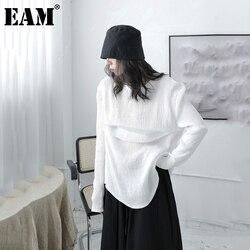 [EAM] Women White Brief Irregular Temperament Leisure T-shirt New Round Neck Long Sleeve  Fashion Tide Spring Autumn 2021 1DB761
