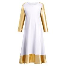Kids Girls Praise Dress Long Liturgical Dance Church Praisewear Pleated Swing Loose Fit for Child