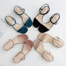 2020 Women Summer Sandals Shoes Woman Female Flock Ankle Straps Square Hight Heels Elegant Casual Party Wedding Shoes Lady Pump