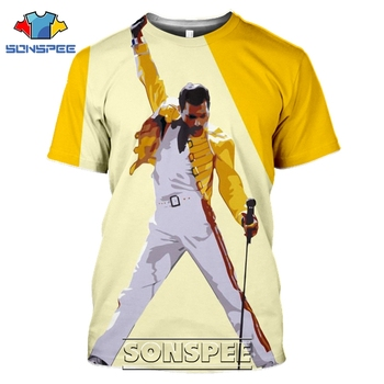 SONSPEE 3D Print Men Women Freddie Mercury T-shirts Casual Streetwear Harajuku Hip Hop Short Sleeve Queen Rock Tees Tops Shirt queen freddie mercury howl t shirt white hip hop novelty t shirts men s brand clothing top tee summer 2017 100