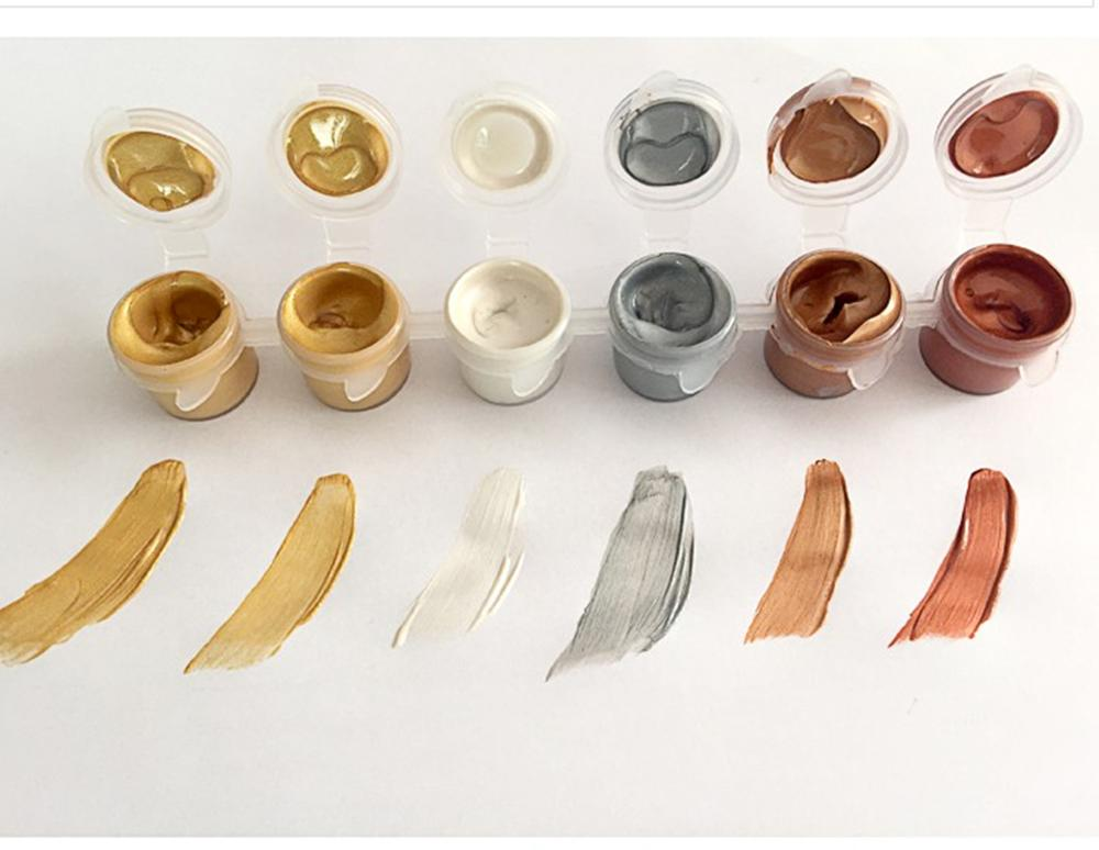 30ml 6 Colors Suit Acrylic Paint Gold Silver Bronze DIY Hand Painted Cement Painting Metallic Waterproof Pigment Graffiti Paint