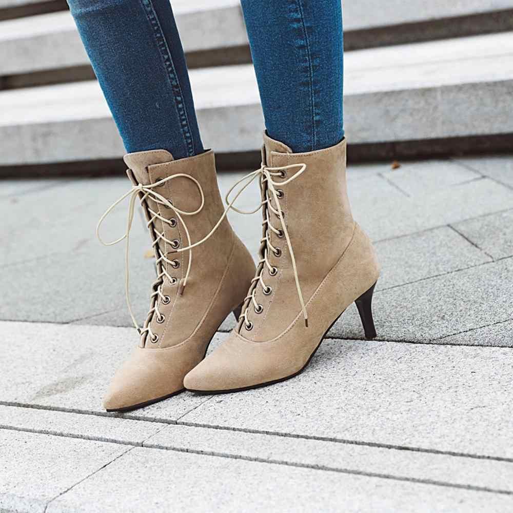 MEMUNIA Artı boyutu 34-43 Yeni kadın botları dantel sivri burun yüksek topuklu bahar sonbahar çizmeler kadın yarım çizmeler parti ayakkabıları