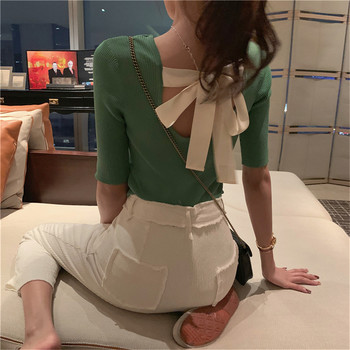 New Arrival 2020 Korea Lady Backless Bow Femme elegant Black KnitwearAutumn Women Pullover White Tops Half Sleeve Casual tops
