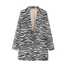 ZXQJ-ropa de calle de cebra para mujer, abrigos de Estampado de rayas, chaquetas con único botón, bolsillo, Chic, informal, 2020