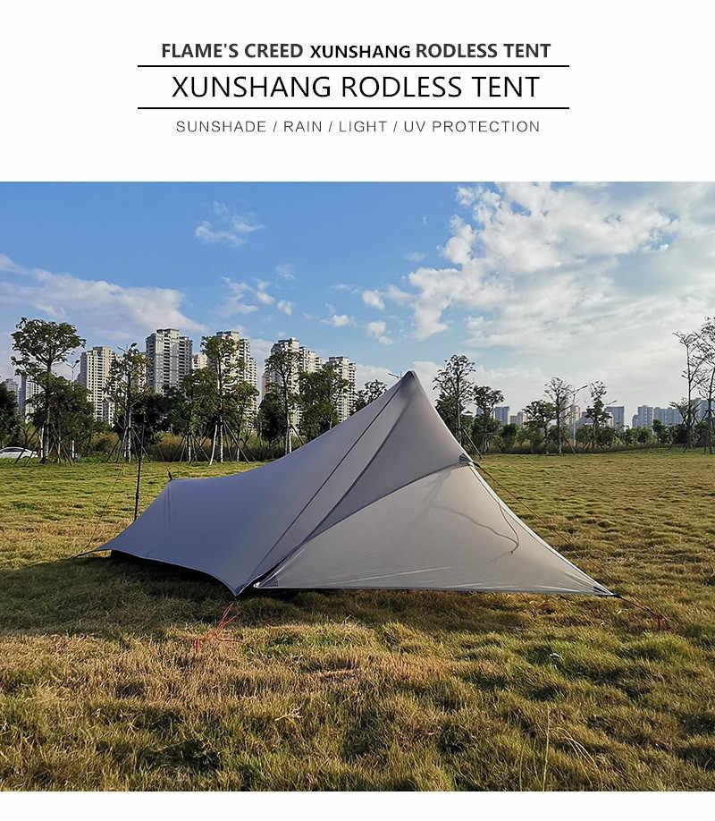 FLAME'S CREED XUNSHANG Ultralight Camping namiot 20D Nylon obie strony Silicon shelter tarp 1 osoba 3 sezon deszcz Fly plandeka na namiot