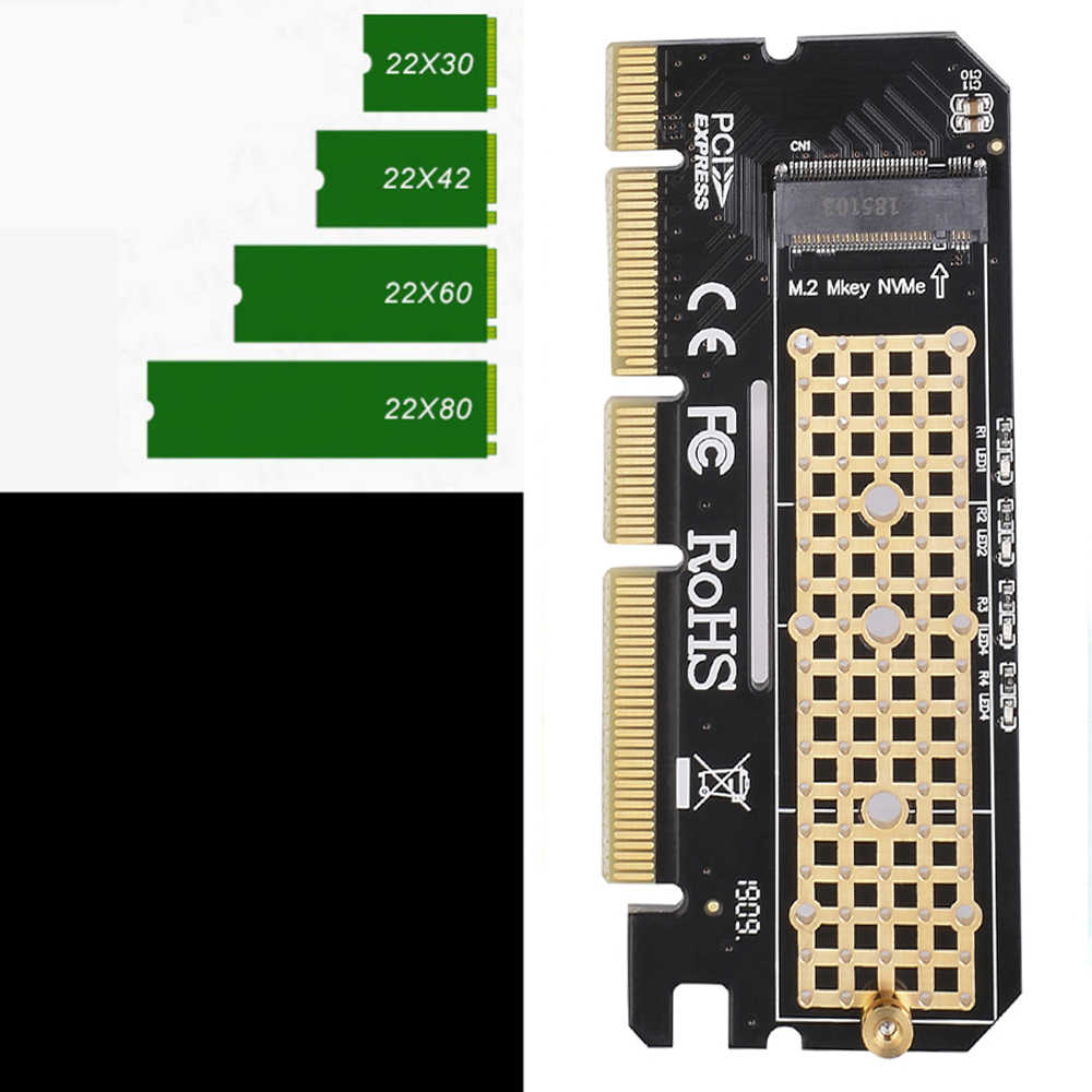 Neue ankunft aluminium legierung shell Led Expansion Karte Computer Adapter Interface M.2 NVMe SSD Pcie 3,0X16