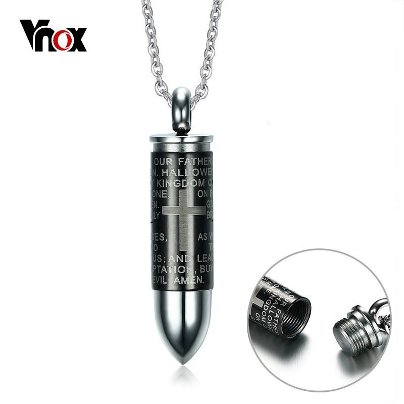 Womens Necklace Mens Unisex Pendant Metal chain Prayer Bullet Jewelry Fashion