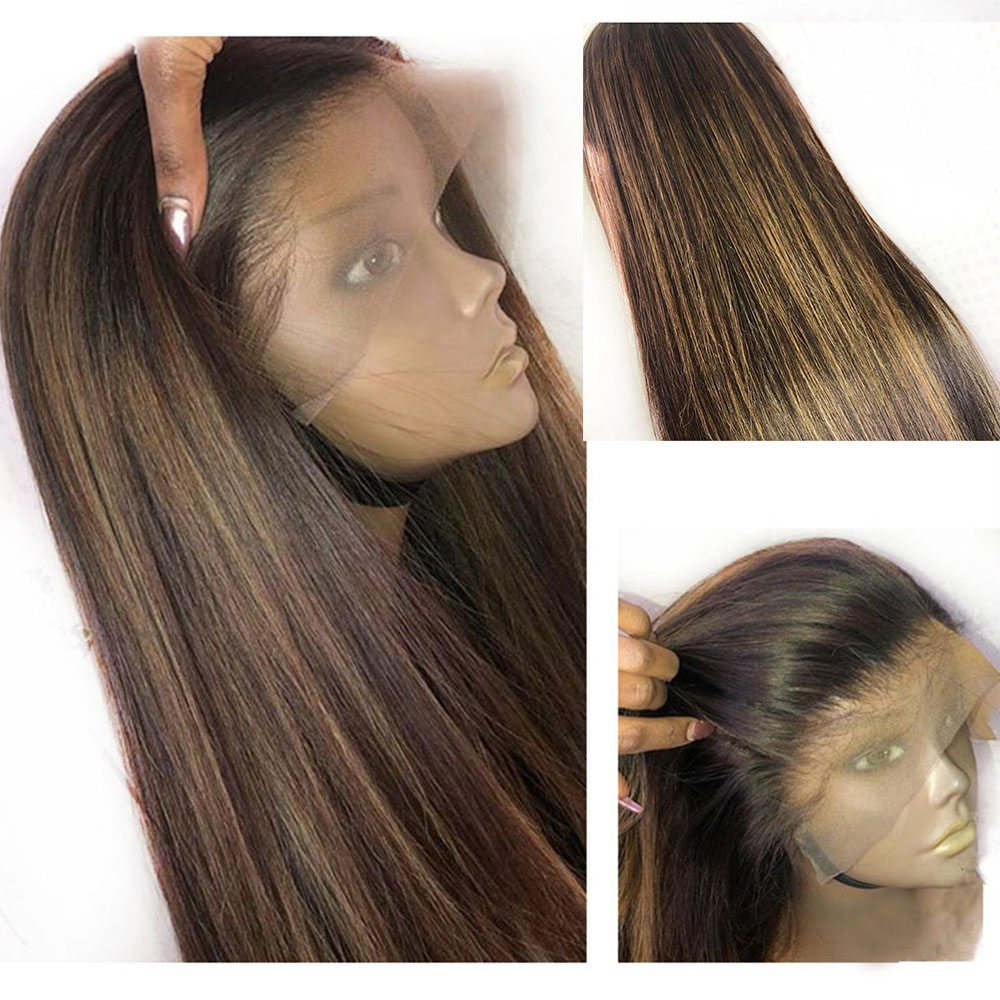 Eversilky Wig Human-Hair Highlights-Color Middle-Part Brown Lace-Front Straight Ombre
