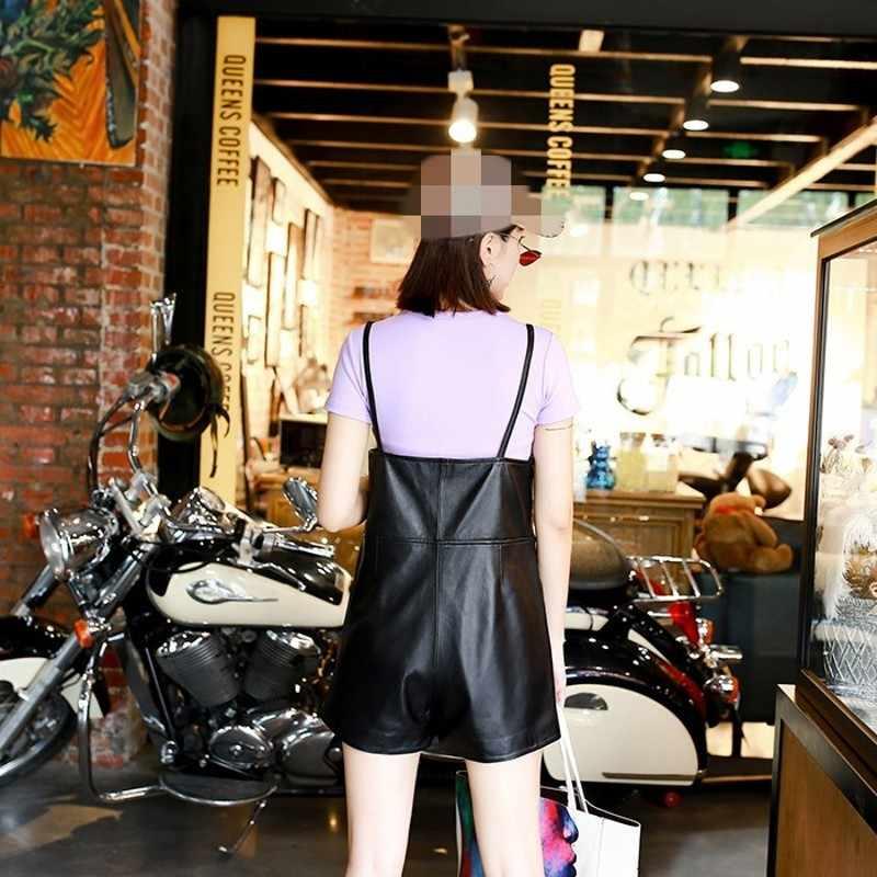 2020 nowy marka kobiet krótkie kombinezony koreański styl Slim Fit kombinezon wysokiej jakości skórzane spodnie na szelkach szerokie nogawki Plus Size