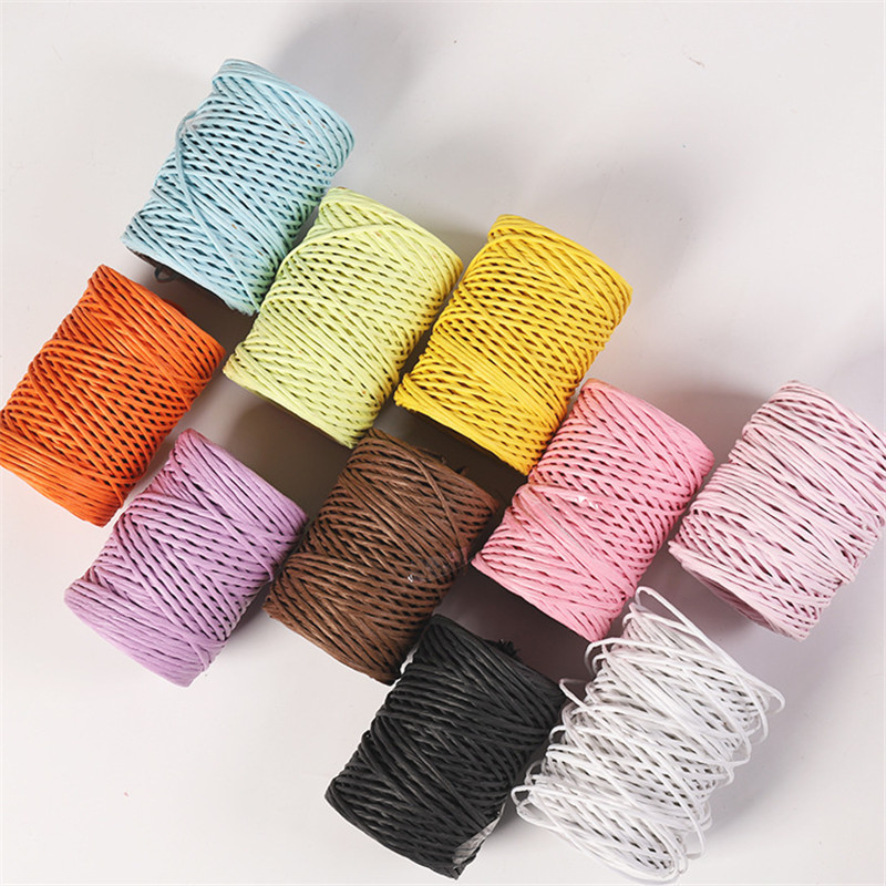 50m/roll 2mm Raffia Paper Rope With Iron Wire Core DIY Flower Basket Craft Twine Rope For Party Decorations Scrapbooking Supplie