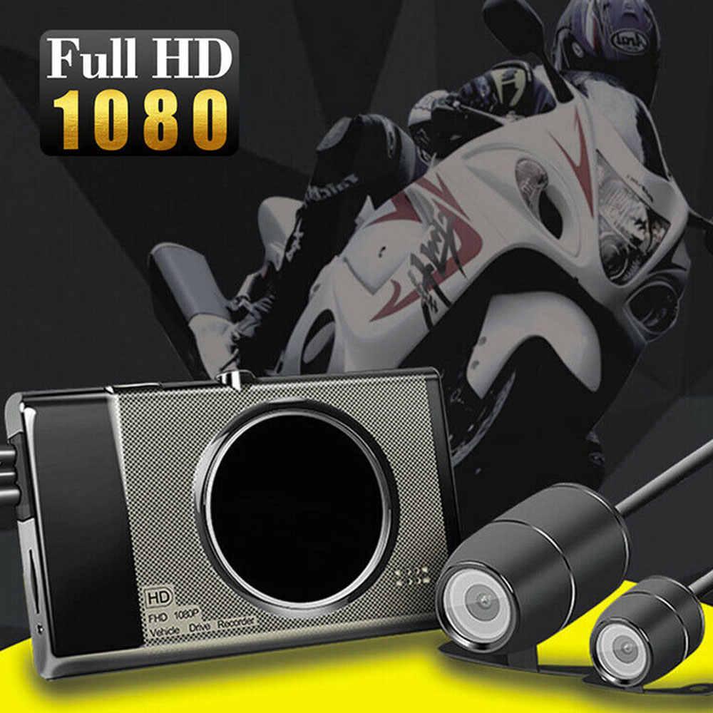 """Vehemo 3 """"corpo inteiro à prova dwaterproof água da motocicleta gravador de câmera 1080 p dupla completa hd motocicleta dvr traço cam visão noturna preta dashcam"""