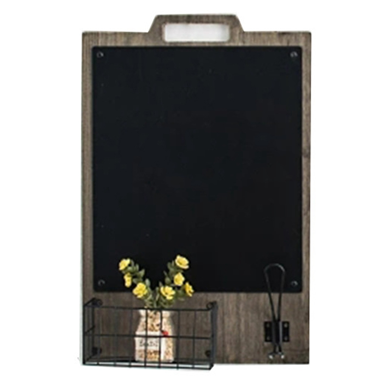 Nordic Wooden Wall Hanging Decoration Shelf With Blackboard Organizer Storage Holder Home Message Board