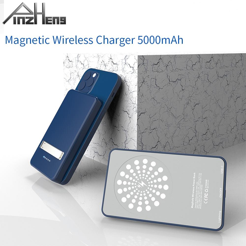 Chargeur sans fil PINZHENG 15W Magsafe 5000mAh batterie d'alimentation pour iPhone 12 support de secours Portable Powerbank pour iPhone 12 Pro Max