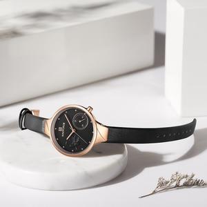 Image 3 - NAVIFORCE Brand Luxury Leather Fashion Watches Women Creative Rose Dial Casual Elegant Lady Quartz Wrist Watch Relogio Feminino