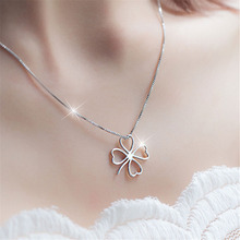 Fashion Short Clavicle Chain for Women Temperament Sexy Four-leaf Clover-shape Hollow Pendant Necklace Classic Jewelry