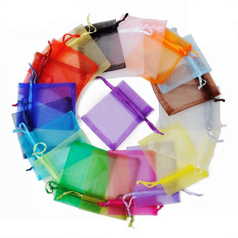 100Pcs Organza Bags Jewelry Bags Packing Drawable 7x9 9x12 10x15 13x18 17x23cm Gift Bag Sachet Organza Wedding/Communion Decor