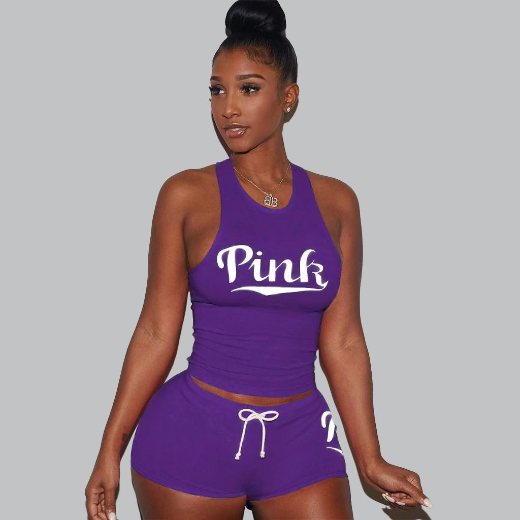 <font><b>2018</b></font> Casual PINK Letters 2 Piece Set Women Solid Printed O-Neck Short Sleeve <font><b>Sexy</b></font> <font><b>Top</b></font> Short Pants Bodycon Set Sportwear Dropship image