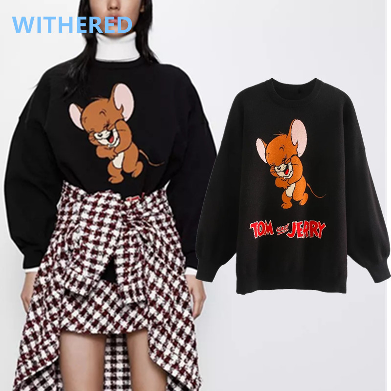 Withered England High Street O-neck Cartoon Mouse Letter Jacquard Loose Sweaters Women Pull Femme Sweaters Women Pullovers Tops