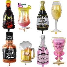 Balão de hélio grande taça de champanhe balão festa de aniversário do casamento decorações adulto crianças balões globos evento fontes de festa
