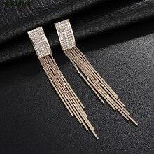 2019 New Style Super Flash Crystal Long Earring Temperament Tassel Metal Rhinestone Korea Fashion Wedding Earrings Jewelry Women