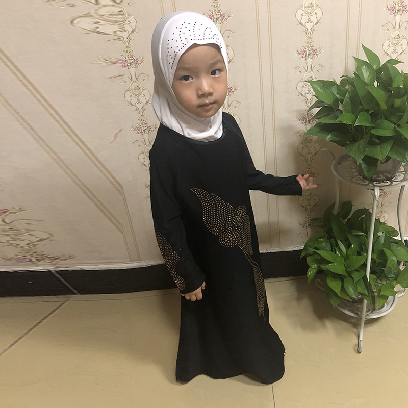 Black Kids Girls Abaya Turkey Muslim Dress Children Kaftan Robe Dubai Hijab Dress Caftan Marocain Abayas Elbise Islamic Clothing