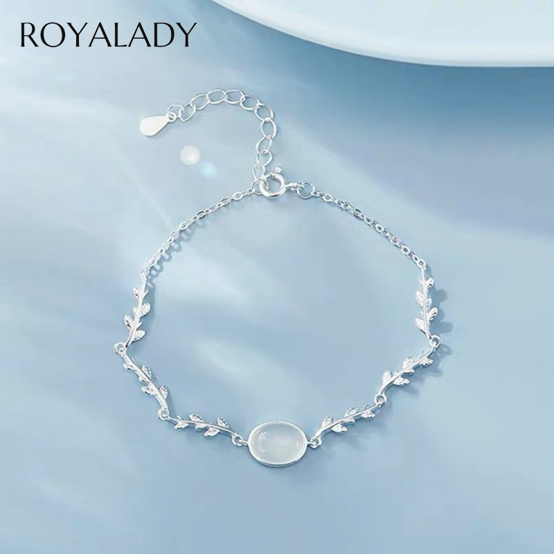 Fashion Natural Moonstone Charms Bracelet For Women Girls 2020 Concise Silver Plated Moon Stone Bracelet&Bangles Fashion Jewelry