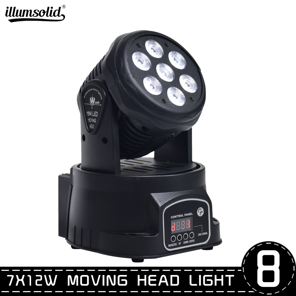 LED Led Wash Mini Moving Head Light 7x12w Rgbw 4in1 Led Xmas Christmas Advanced DMX 14 Channels Dj Band Lights(8pcs/lot)
