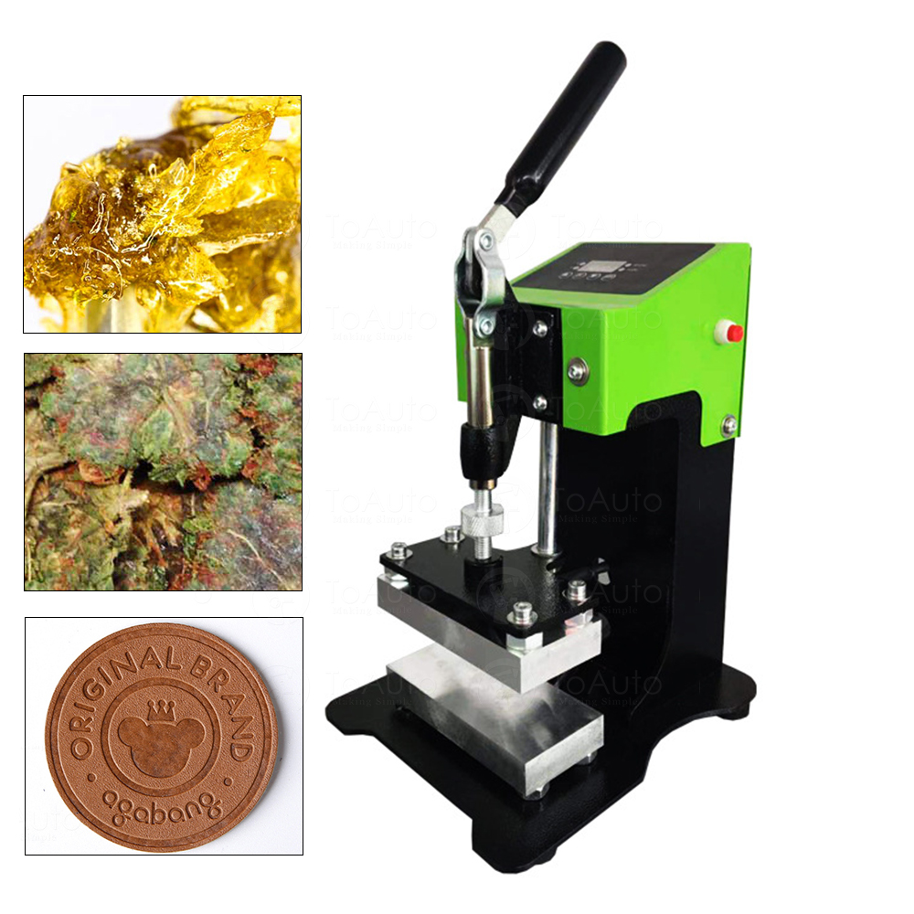 800W Manual Handwheel Rosin Heat Press Machine Oil Machine With Dual Heating Plate And Controller 2.4x4.7