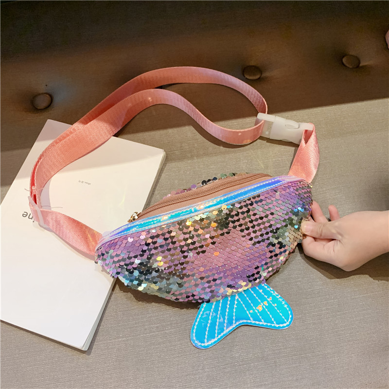 Kids Leather Wasit Bag Shinny Sequins Fanny Packs Baby Girls Phone Coin Purse Belt Bag Boy Chest Bag Fanny Pack