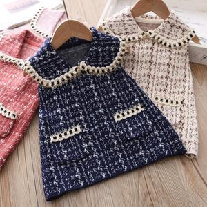 Осеннее винтажное твидовое платье-майка для маленьких девочек, детское маленькое платье принцессы без рукавов с отворотами