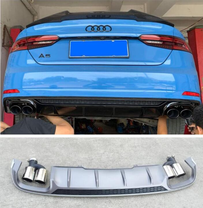 abs paint carbon fiber 4 outlet abs rear bumper diffuser with exhaust tips for audi a5 s5 coupe 2 4 door 2017 2018 2019