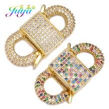 Juya Handmade Luxury Micro Pave Zircon Pendant Lockets Clasps Supplies For Hanging Chains Creative Jewlery Making Accessories