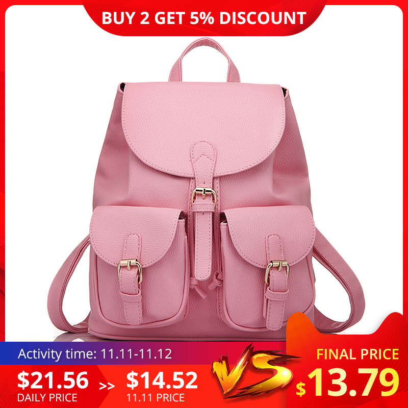 LOVEVOOK Brand Preppy Style School Backpack Artificial Leather Fashion Women Shoulder Bag With Two Solid Pocket For Teens Girls