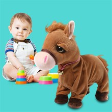 Робот лошадь Звуковое управление интерактивные электронные игрушки плюшевые животные стенд прогулки коры поводок Тедди игрушки для детей подарок на день рождения