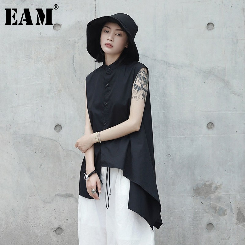 [EAM] Women Black Asymmetrical Hemline Blouse New Lapel Sleeveless Loose Fit Shirt Fashion Tide Spring Autumn 2020 JL4530
