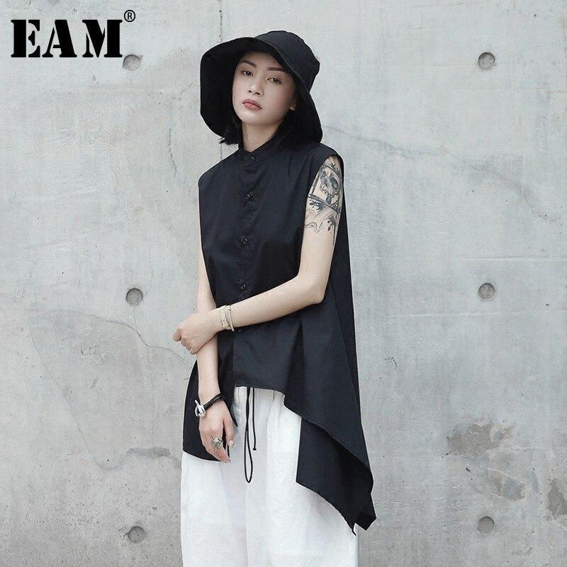 [EAM] Women Black Asymmetrical Hemline Blouse New Lapel Sleeveless Loose Fit Shirt Fashion Tide Spring Autumn 2020 JL4530