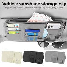 Multi-function Car Sun Visor Organizer Glasses License Card Pen Storage Clip Bag Car Interior Stowing Tidying Accessories