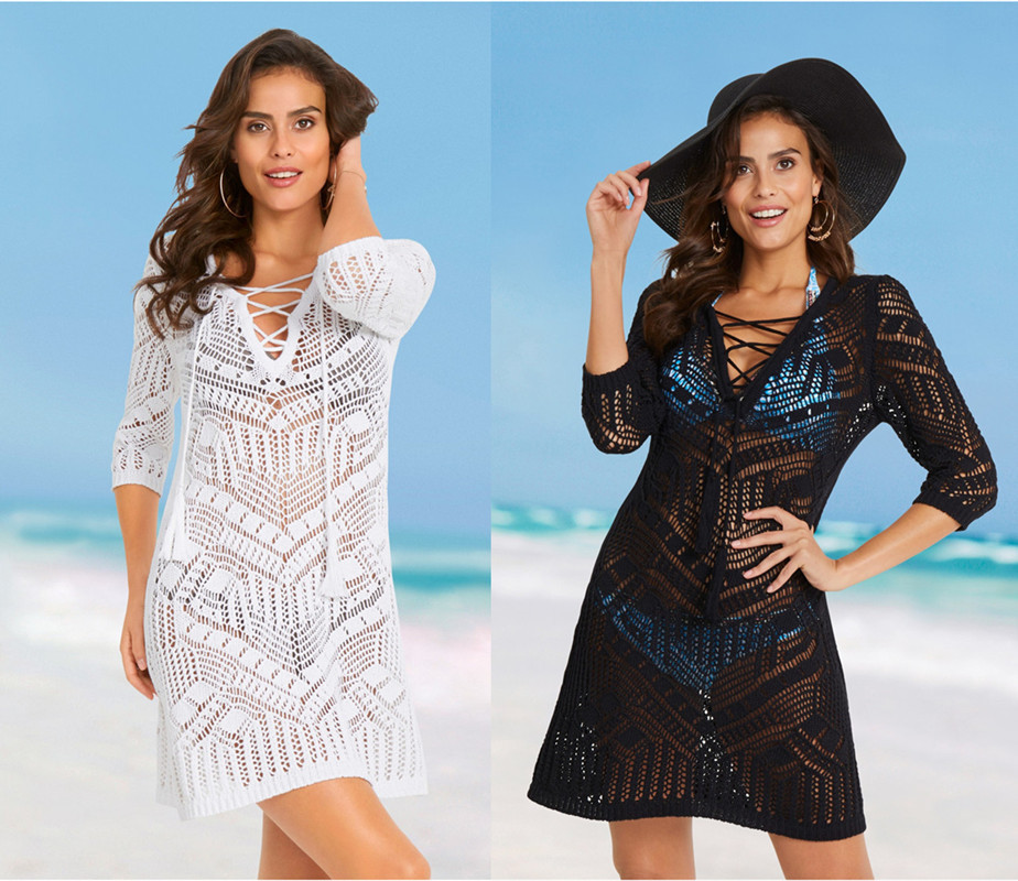 Europe And America New Style Knitted Hollow Out Chest Bandage Cloth Beach Skirt Seaside Holiday Sun Shirt Bikini Outer Blouse