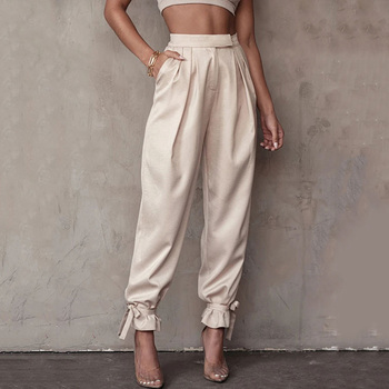 Cargo Pants Spring Autumn The New High Waist Thin Tie Feet Gather Fashion Simple Hot Sale Loose Trousers