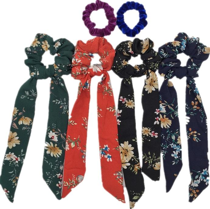 6 шт/лот Бархатные эластичные резинки для волос, резинки для волос для девочек, не складываются, леопардовые женские большие мелкие блестки из шифона с цветочным рисунком - Цвет: PJ106-6PCS