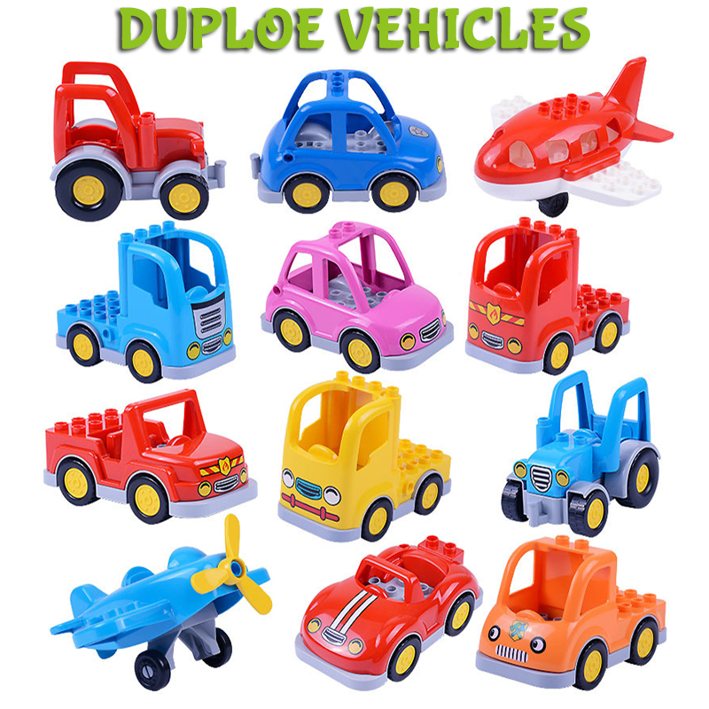 Duploe City Cartoon Car Trailer Truck Tractor Airplane Model Building Block Duploed City Educational Toys For Children Kids Xmas