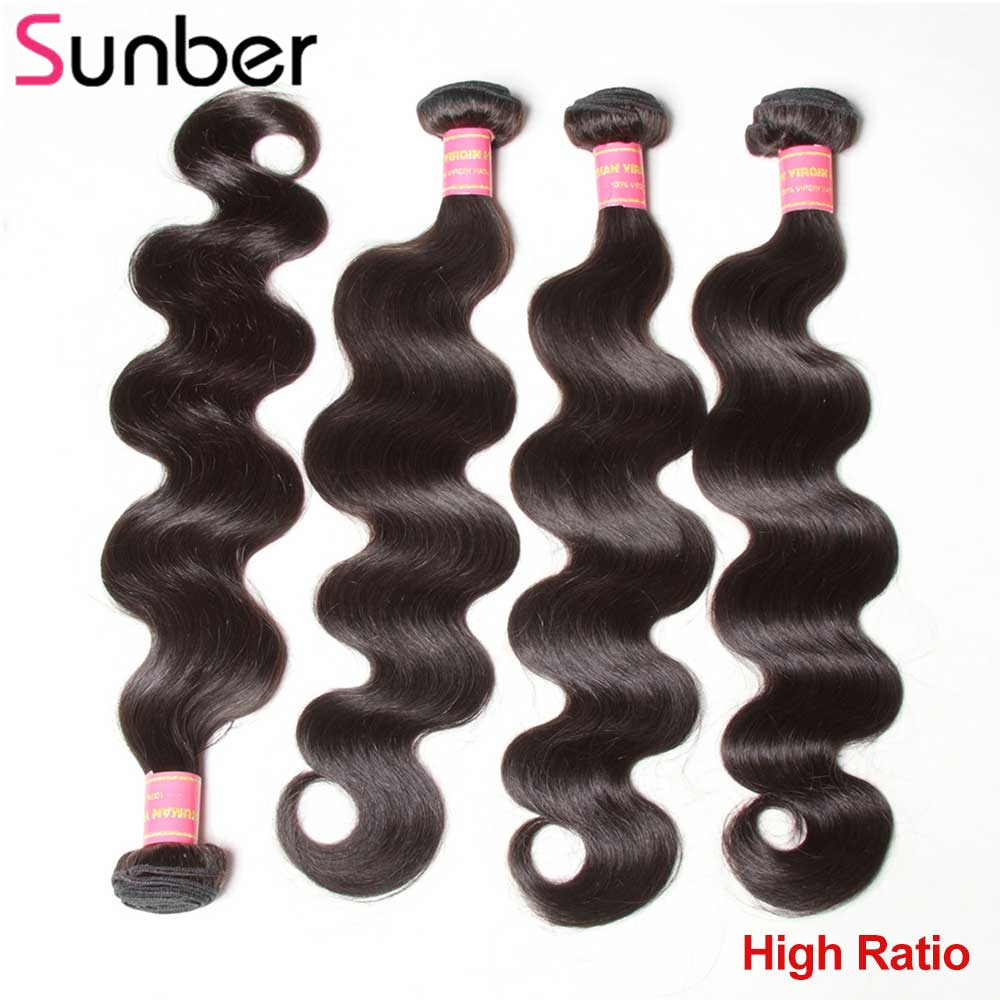 Sunber Hair 4 Bundles Peruvian Body Wave High Ratio Remy Hair Extensions Can Be Curled  Hair Weaving 8