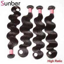 Remy-Hair-Extensions Body-Wave 4-Bundles Peruvian Sunber Can-Be-Curled High-Ratio 8--To-30-