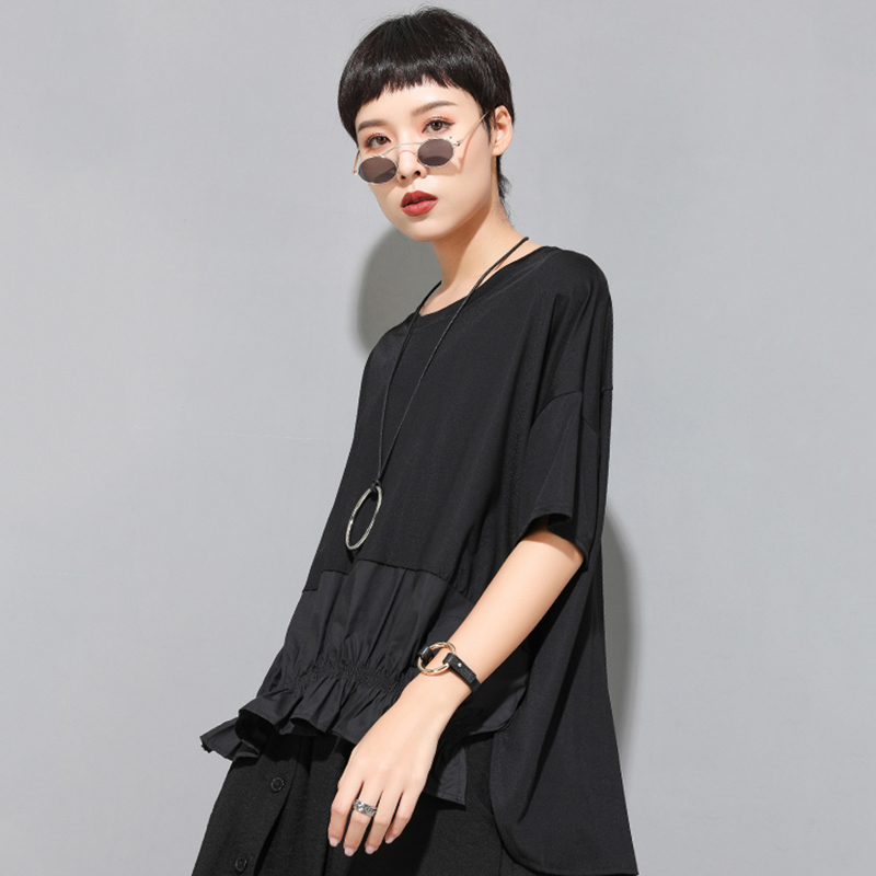 [EAM] Women Black Ruffles Split Irregular Big Size T-shirt New Round Neck Half Sleeve  Fashion Tide  Spring Summer 2020 1U806 5