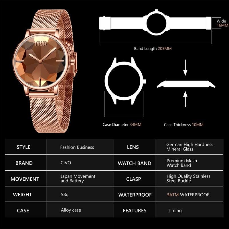 Image 5 - CIVO New Creative Watches Women Luxury Waterproof Rosegold Quartz Ladies Watches Mesh Band Wristwatches Girl Reloj Mujer 8109CWomens Watches   -